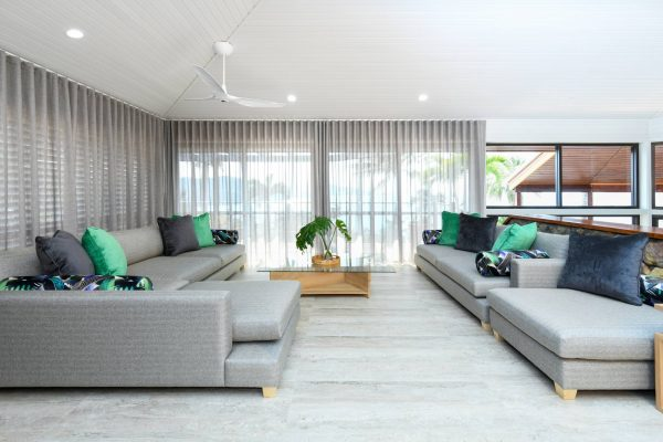 Lounge with curtains