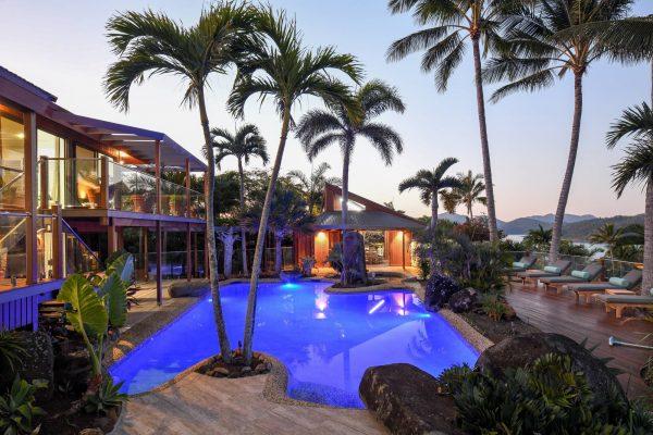 Pool villa gazebo evening